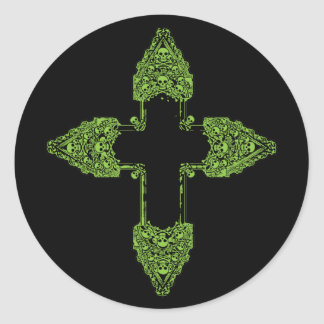 Ornate Green Gothic Cross Classic Round Sticker