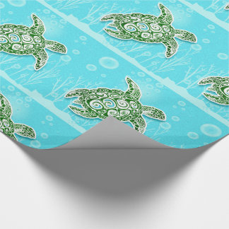 Ornate Green Sea Turtles Underwater Aqua Blue Wrapping Paper