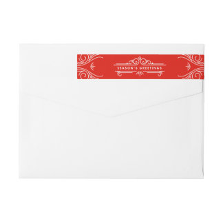 Ornate Greetings   Holiday Return Address Labels Wraparound Return Address Label