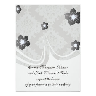 ornate grey diamond damask design 17 cm x 22 cm invitation card