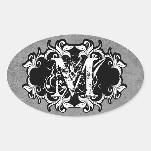 Ornate Grunge Wedding Monogram Curlicue Frame 2 Oval Stickers