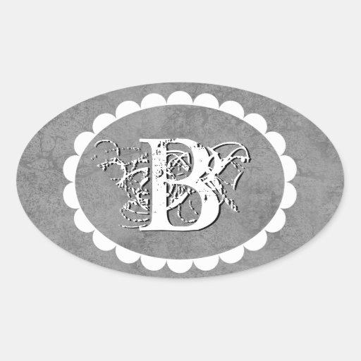 Ornate Grunge Wedding Monogram Curlicue Frame 3 Oval Stickers