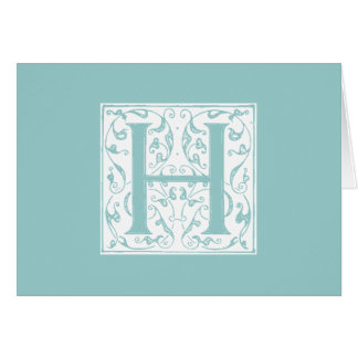 Ornate H Monogram Card