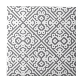 Ornate Labyrinth in Gray Ceramic Tile