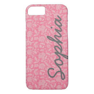 Ornate Lace Flowers Pink Custom Name iPhone 7 case