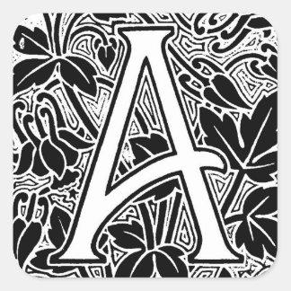 """Ornate Letter """"A"""" Square Sticker"""