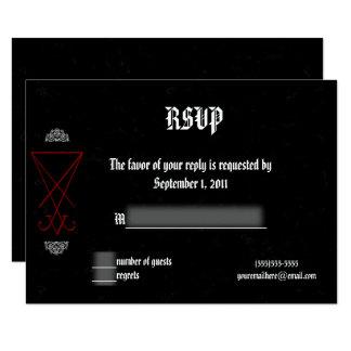 Ornate Luciferian Occult Goth Wedding RSVP Card