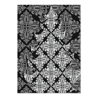 Ornate Luxury  Christmas Tree Damask Pattern Card