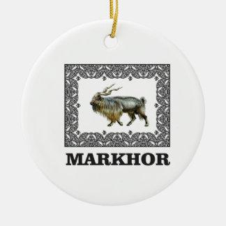 Ornate Markhor frame Ceramic Ornament