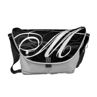 Ornate Monogram Initial in Black and White Commuter Bags