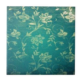 ornate oriental flower pattern small square tile
