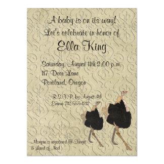"""Ornate Ostrich Baby Invitation 6.5"""" X 8.75"""" Invitation Card"""