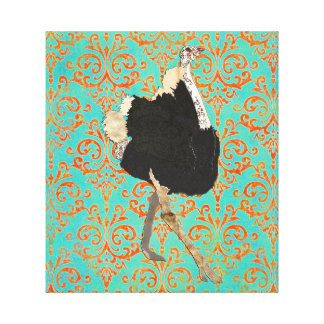 Ornate Ostrich Damask Canvas Art Gallery Wrapped Canvas