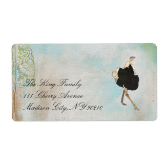 Ornate Ostrich White  Label Shipping Label