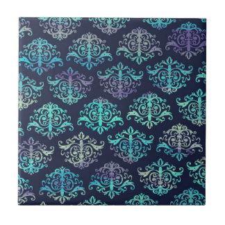 Ornate Pattern - Purple & Green Peacock Colors Ceramic Tile