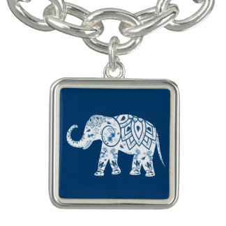 Ornate Patterned Blue Elephant
