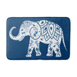 Ornate Patterned Blue Elephant Bath Mat