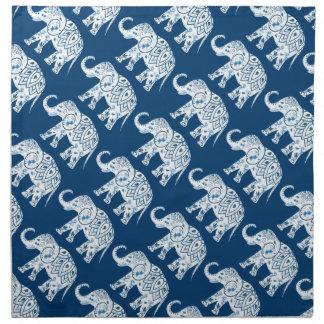 Ornate Patterned Blue Elephant Napkin