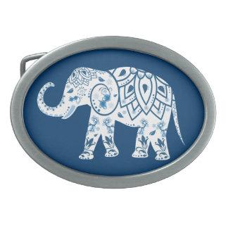 Ornate Patterned Blue Elephant Oval Belt Buckle
