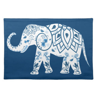 Ornate Patterned Blue Elephant Placemat