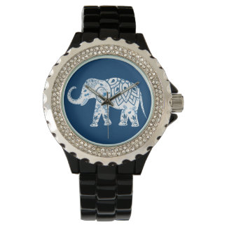 Ornate Patterned Blue Elephant Wrist Watch