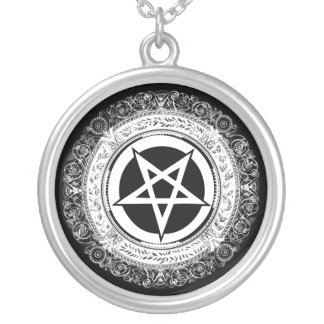 Ornate Pentagram Round Pendant Necklace