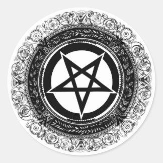 Ornate Pentagram Round Sticker