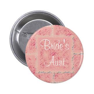 Ornate pink patchwork Bride's Aunt button