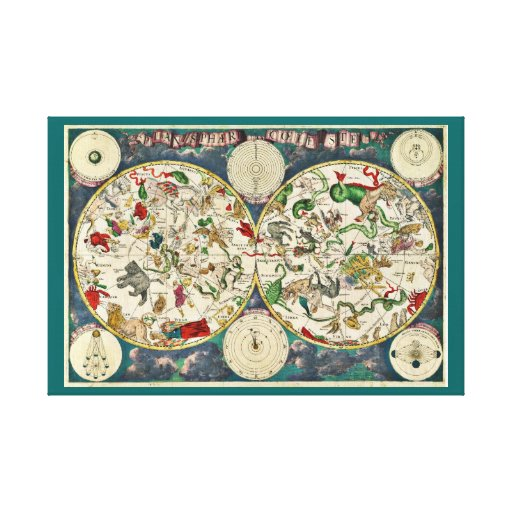 Ornate planisphere, star moon chart map, planets gallery wrap canvas