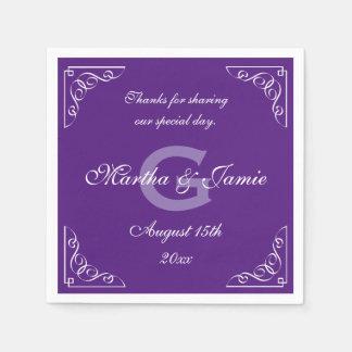 Ornate purple and white monogram wedding napkins disposable serviette