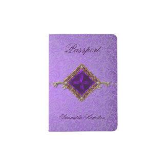 Ornate Purple Damask Custom Passport Holder