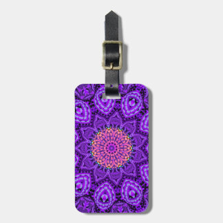 Ornate Purple Flower Vibrations Kaleidoscope Art Luggage Tag