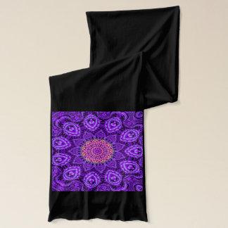 Ornate Purple Flower Vibrations Kaleidoscope Art Scarf