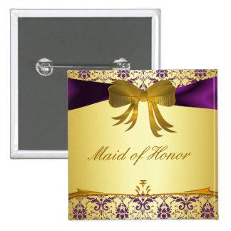 Ornate Purple Gold Damask Wedding Party Button Pin