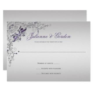 Ornate Purple Silver floral Swirls RSVP Card