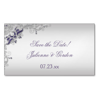 Ornate Purple Silver Floral Swirls Save The Date Magnetic Business Cards