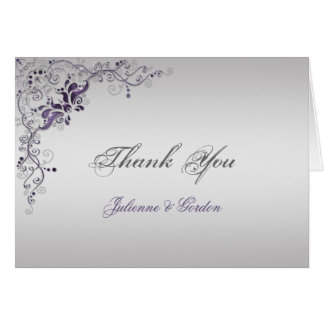 Ornate Purple Silver Floral Swirls Thank You Note Card