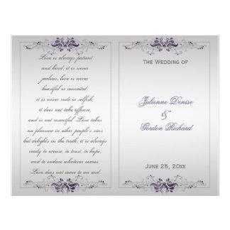 Ornate Purple Silver Floral Swirls Wedding Program Flyer