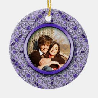 Ornate Purple Tanzanite Silver Photo Christmas Ceramic Ornament