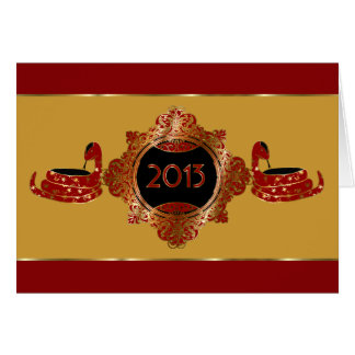 Ornate Red and Gold Chinese New Year 2013 Card