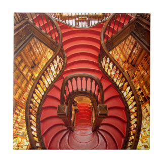 Ornate red stairway, Portugal Ceramic Tile