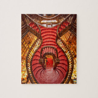 Ornate red stairway, Portugal Jigsaw Puzzle