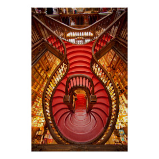 Ornate red stairway, Portugal Poster