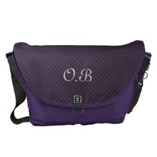 Ornate Royal Purple Pattern Custom Monogram Courier Bag