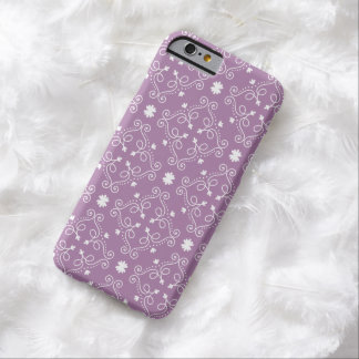 Ornate scroll design stylish white and purple barely there iPhone 6 case