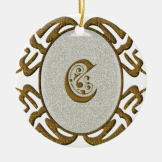 Ornate Scroll Monogram Letter C Ceramic Ornament