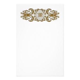 Ornate Scroll Monogram Letter M Stationery