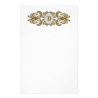 Ornate Scroll Monogram Stationary Letter V Stationery