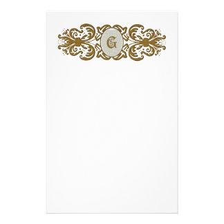 Ornate Scrolled Monogram Letter G Custom Stationery