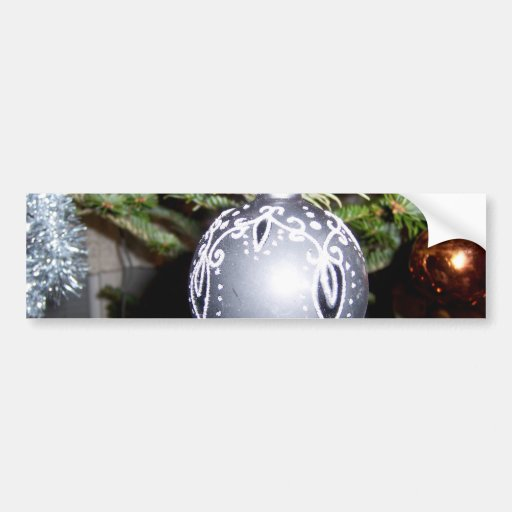 Ornate Silver Christmas Bulb Bumper Stickers